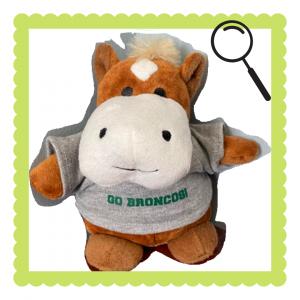 Image of SUNY Delhi's mascot, Blaze the Bronco, as a stuffed animal.